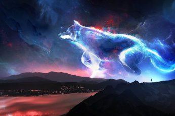 Fantasy Animals wallpaper, Wolf, Landscape, Night, Spirit