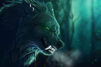 Direwolf digital wallpaper, fantasy art, creature, artwork, green eyes