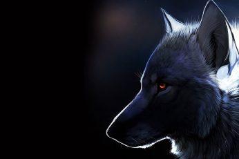 Wolf wallpaper illustration, nature, fantasy art, glowing eyes, dark, animals