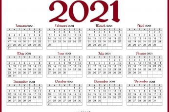 2021 calendar wallpaper red