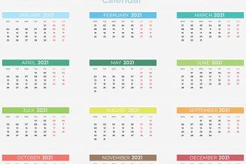 Colorful 2021 calendar wallpaper