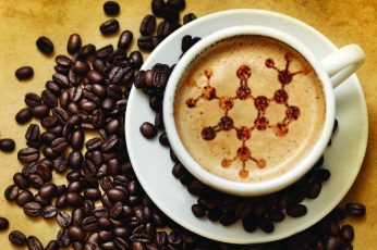 Teacup and saucer wallpaper, science, chemistry, coffee, drink, chemical structures