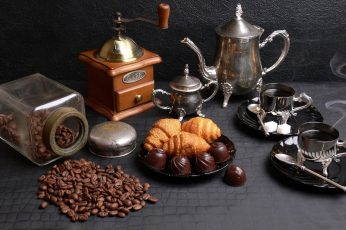 Coffee wallpaper, stainless steel tea set, coffee grinder, and coffee beans