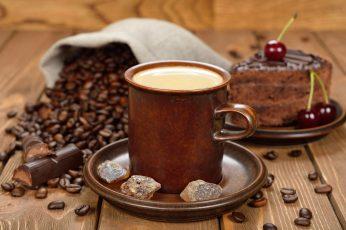 Coffee beans wallpaper, cup, sugar