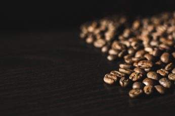Coffee beans close up wallpaper, black, black background, brown, roasted