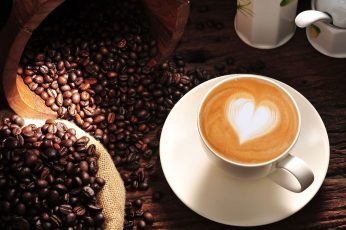 Coffee wallpaper, cappuccino, heart, love, cup, coffee beans