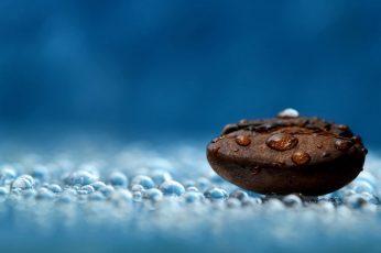 Coffee bean wallpaper, macro, depth of field, coffee beans, water drops