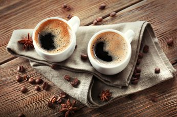 Two cups of coffee, beans wallpaper
