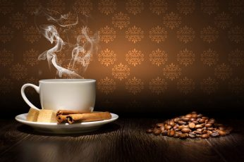 Coffee bean lot wallpaper, steam, cinnamon, sugar