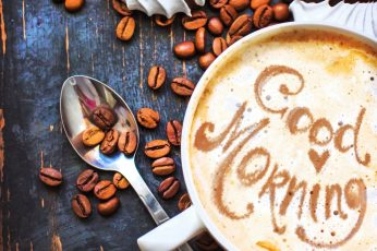 Coffee beans wallpaper, cup, good morning wallpaper