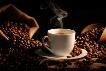 Coffee beans wallpaper, hot cup coffee, bag