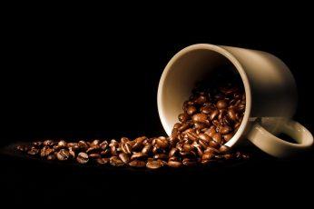 Mug wallpaper, drink, cup, coffee beans, black background