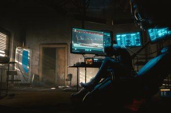 Cyberpunk 2077 wallpaper, flat screen TV, cyberpunk, illuminated, technology