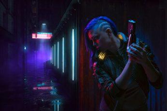 Cyber wallpaper, cyberpunk, futuristic, women, neon, pistol, Cyberpunk 2077