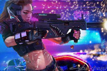 Cyberpunk wallpaper, women, digital art, Asian, weapon, science fiction