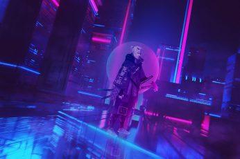Cyberpunk wallpaper, Cyberpunk 2077, cyber city, neon, The Witcher, Geralt of Rivia