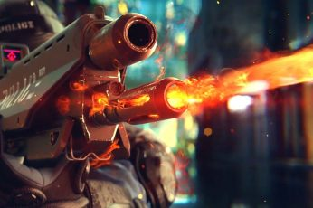 CGI wallpaper, gun, Cyberpunk 2077, weapon, video games, machine gun