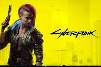 Cyberpunk 2077 wallpaper, V, redhead, yellow background, shaved head