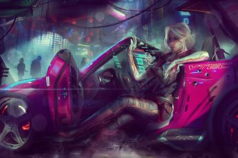 Cyberpunk 2077 wallpaper, girl, the city, fiction, car, the Witcher, art