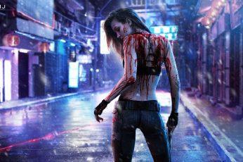 Cyberpunk 2077 wallpaper, Video Game, Blood, Girl, Gun, Laser, Rain
