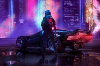 Octokuro wallpaper, Cyber, cyberpunk, Cyberpunk 2077, car, futuristic, jacket
