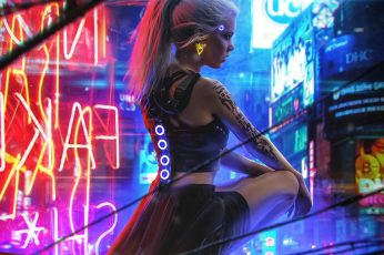 Digital art wallpaper, women, blonde, futuristic, tattoo, robot, science fiction