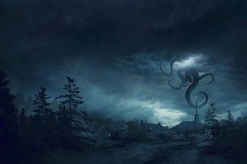 Digital art wallpaper, fantasy art, nature, artwork, trees, storm, village
