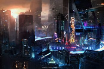 Videogame digital wallpaper, cyber, cyberpunk, science fiction