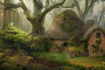 Brown hobbit house wallpaper, nature, forest, fantasy art, tree, plant