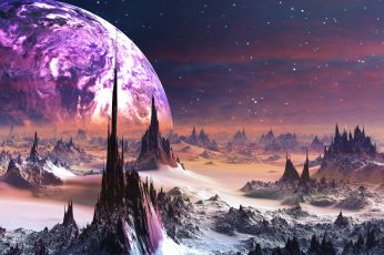 Spiked wallpaper, spiky, fantasy art, fantasy landscape, scifi, science fiction