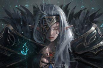 White-haired female character digital wallpaper, digital art