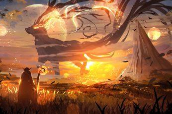 Anime wallpaper, fantasy art, sunset, digital art, magic, mountains