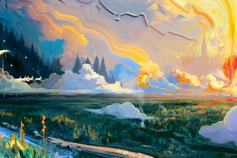 Fantasy landscape wallpaper, fantasy art, painting, painting art, water