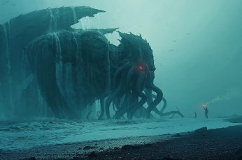 Fantasy wallpaper, Cthulhu, Beach, Creature, Sea Monster