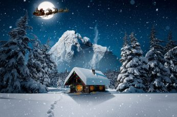 Christmas Winter 4K wallpaper, Holidays, Landscape, Night, Design, Fantasy