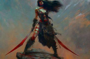 Female character holding two swords painting, artwork, fantasy art wallpaper