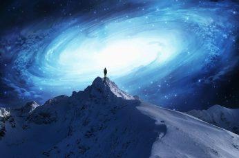 Snow mountain wallpaper, artwork, fantasy art, mountains, galaxy, men, concept art