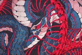 Snake, Chun Lo wallpaper, artwork, digital art, 2D