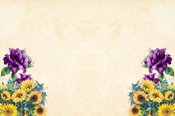 Purple and Yellow flowers on corners of light wallpaper, watercolor