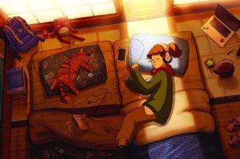 LofiGirl wallpaper, sleeping, schoolbags, sunlight, laptop
