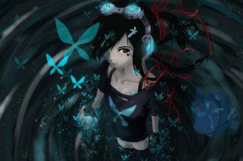 Female anime character wallpaper, anime girls, headphones