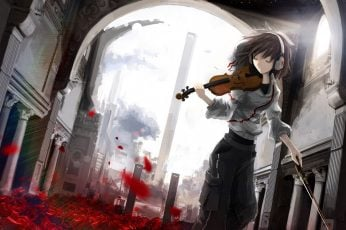 Animated character holding violin wallpaper