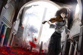 Animated character holding violin wallpaper
