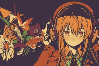 Headphones wallpaper, flowers, anime characters