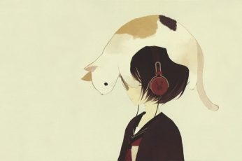 Cat on anime character with black hair and headphones, anime girls wallpaper