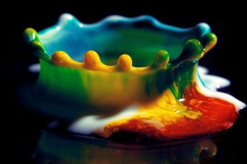 Round multicolored tray wallpaper, multicolored paint, colorful, water drops