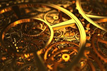 Brass-colored machine, gold gear mechanism, clockwork, gears