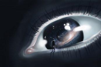 Eye illustration wallpaper, digital art, eyes, artwork, planet, space, sensory perception
