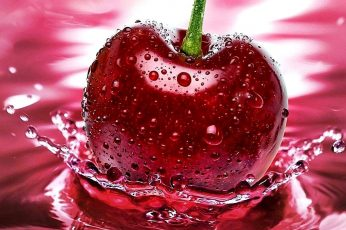 Fresh wallpaper, cherry, splash, water, water drops, droplets, fruit