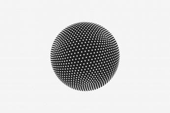 Round gray ball wallpaper, minimalism, monochrome, sphere
